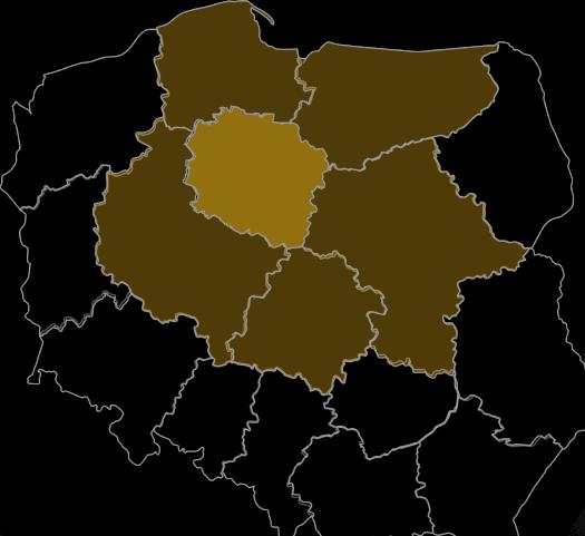 Półprzezroczysta mapa polski obrazująca zakres terytorialny
